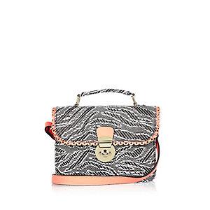 Girls white zebra print cross body handbag