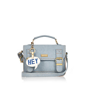 Blue denim satchel bag