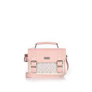 Girls pink laser cut satchel handbag