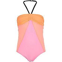Girls orange color block swimsuit