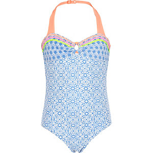 Girls blue print halter neck swimsuit