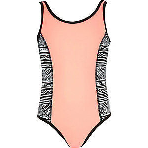 Girls coral print panel swimsuit
