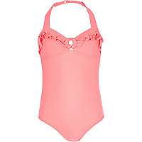 Girls pink frilly swimsuit