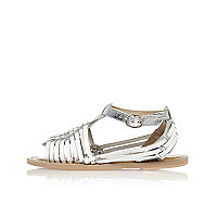 Girls silver woven leather sandals