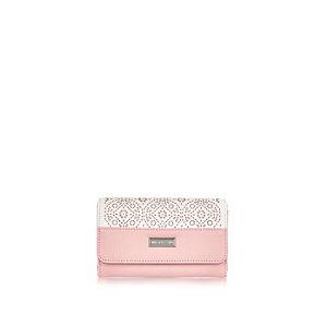 Girls pink trifold laser cut purse