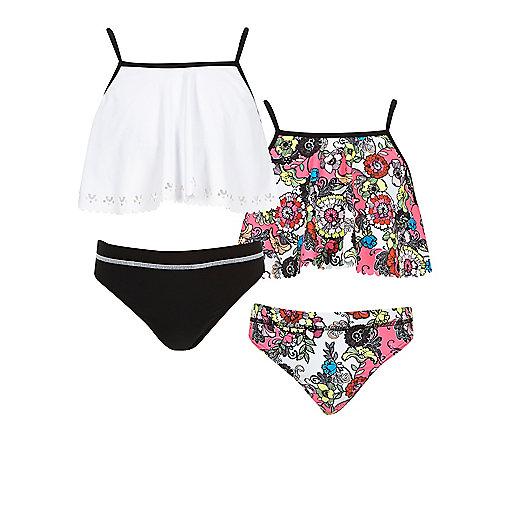 Girls pink and white swimwear set