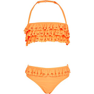 Girls orange bandeau ruffle bikini