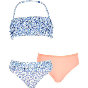 Girls blue print 3-piece bandeau bikini set