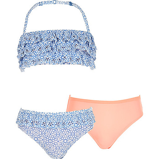 Girls blue print 3-piece bandeau bikini set
