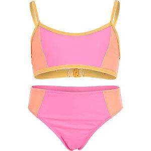 Girls pink bandeau colour block bikini