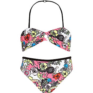 Girls pink floral print reversible bikini