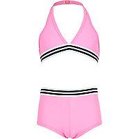 Girls pink triangle bikini shorts set