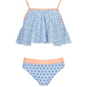 Girls blue print frilly bikini