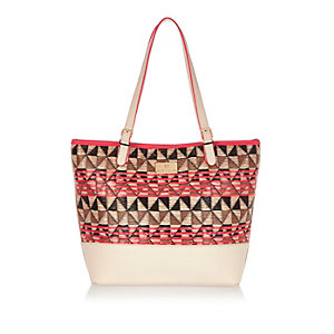 Girls coral shopper bag