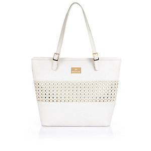 Girls white metallic weave shopper