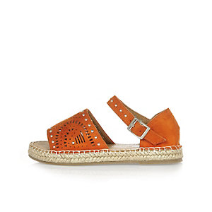 Girls orange laser cut espadrilles