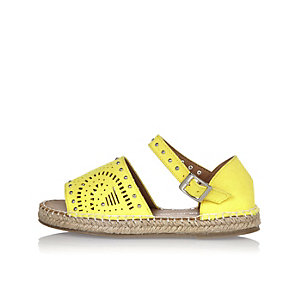 Girls yellow laser cut espadrilles