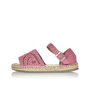 Girls pink laser cut espadrilles
