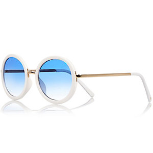 Girls white mirrored sunglasses
