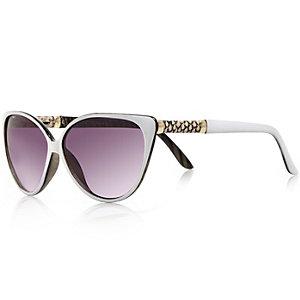 Girls white cat eye sunglasses