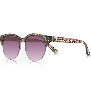 Pink floral print flat top sunglasses