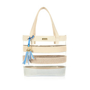 Girls cream perspex shopper bag
