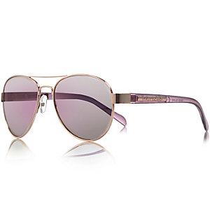 Girls gold tone pilot sunglasses