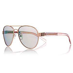 Girls rose gold tone pilot sunglasses