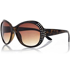 Girls brown oversized diamanté sunglasses