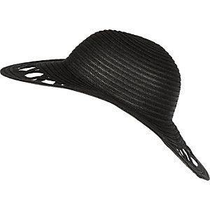 Girls black floppy hat