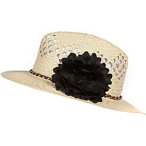 Girls brown straw trilby hat