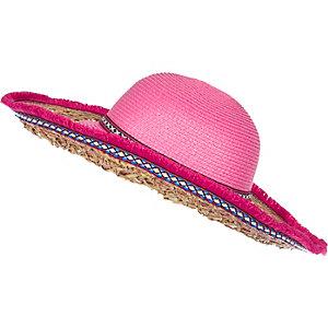 Girls pink floppy fringe hat