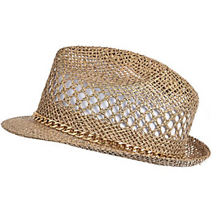 Girls gold straw hat
