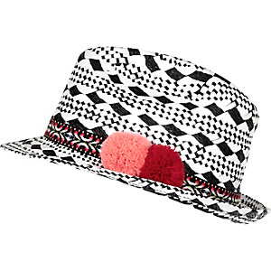 Girls black and white trilby hat