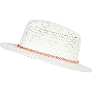 Girls white knitted fedora hat