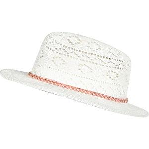 Girls white knitted fedora hat