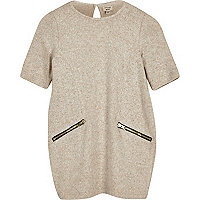 Mini girls beige zip T-shirt dress