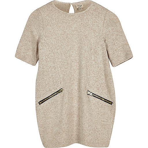 Robe t-shirt beige zippée mini fille