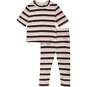 Mini girls pink stripe top leggings outfit