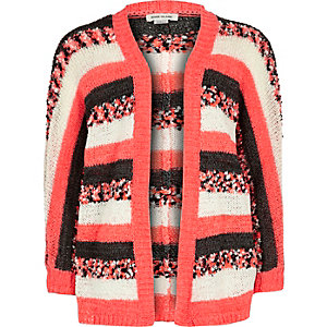 Girls pink stripe cardigan