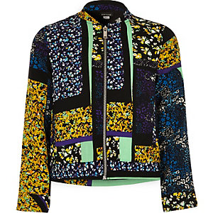 Girls blue floral print bomber jacket