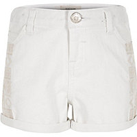 Girls white embroidered denim shorts