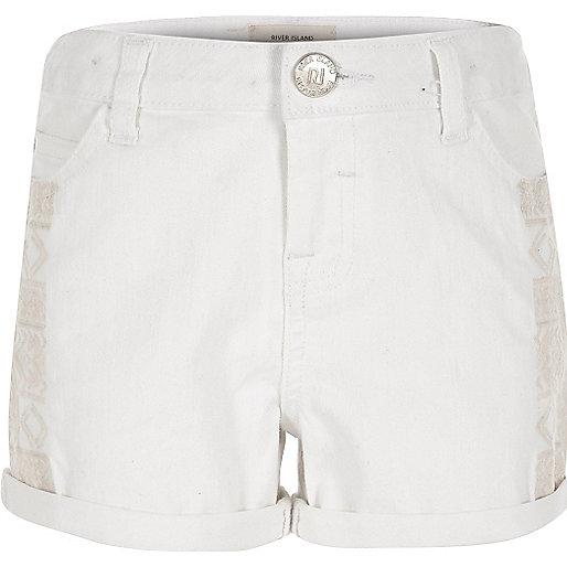 Girls white embroidered denim shorts