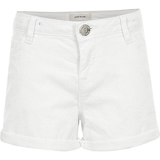 Girls white denim turn-up shorts