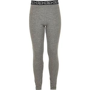 Girls grey Aztec leggings