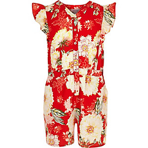 Girls red floral frilly romper