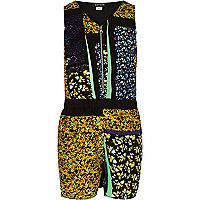 Girls black floral print playsuit
