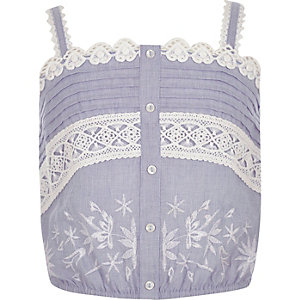 Girls blue lace crop top