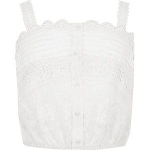 Girls white lace crop top