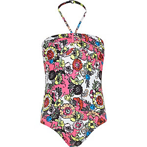 Girls pink floral print swimsuit